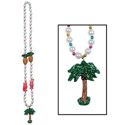 Luau Party Beads with Palm Tree Medallion (1/pkg)