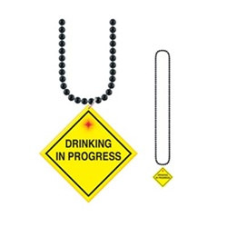 "Beads with Flashing ""Drinking In Progress"" Medallion (1/pkg)"