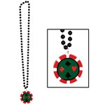 Black Beads with Poker Chip Medallion (1/pkg)