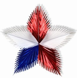 Red, White, and Blue Leaf Starburst, 16 in