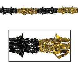 "Black and Gold Metallic Garland, 8""x9'  (1/Pkg)"