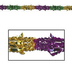Gold, Green, and Purple Metallic Garland, 8 inches x 9 feet (1/pkg)