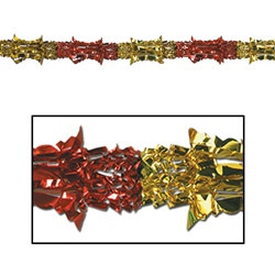"Red and Gold Metallic Garland, 8""x9'  (1/Pkg)"