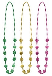 Gold, Green and Purple Mardi Gras Mask Beads (3/pkg)