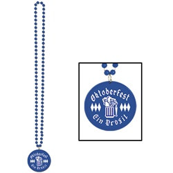 Blue Beads with Oktoberfest Medallion (1/pkg)