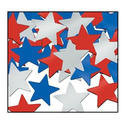 Red, Silver, and Blue Fanci-Fetti  Stars (1 ounce/pkg)