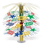 The 2019 Cascade Centerpiece is made of metallic foil material and measures 18 inches tall. It has a combination of stars and 2019 silhouettes and is red, blue, green, and gold. Contains one per package. Simple assembly required.