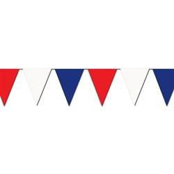 Red White Blue Outdoor Pennant Banner, 120 feet