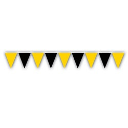 Black and Golden Yellow Outdoor Pennant Banner, 30 ft