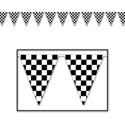 Checkered Outdoor Pennant Banner, 30 ft