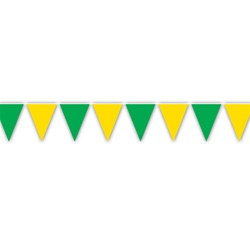 Green and Yellow Indoor/Outdoor Pennant Banner, 12 ft
