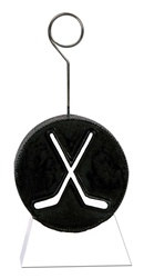 Hockey Puck with Sticks Photo/Balloon Holder