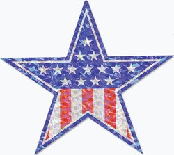 Prismatic Patriotic Star Cutout, 14 inches