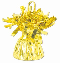 Yellow Metallic Wrapped Balloon Weight, 6 ounces