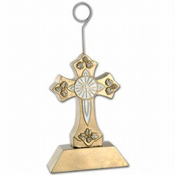 Gold Cross Photo/Balloon Holder