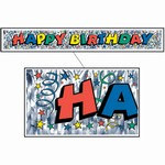 Metallic Happy Birthday Banner 8inx5ft  (1/Pkg)