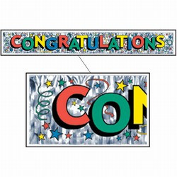 Metallic Congratulations Banner - 8inX5ft (1/pkg)