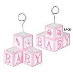 Pink Baby Blocks Photo/Balloon Holder