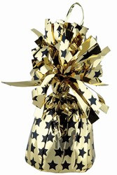 Gold Balloon Weight with Print Black Stars, 6 ounces (1/pkg)