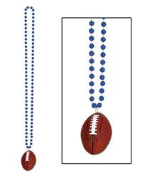 Blue Beads with Football Medallion (1/pkg)