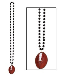 Black Beads with Football Medallion (1/pkg)