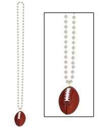 Silver Beads with Football Medallion (1/pkg)