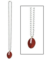 White Beads with Football Medallion (1/pkg)