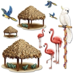 Tiki Hut and Tropical Bird Props
