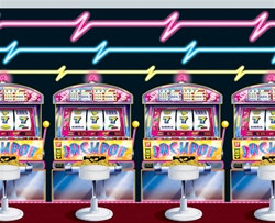 Slot Machine and Neon Lights Backdrop