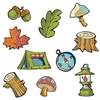 These Mini Woodland Friends Cutouts feature designs of a compass, a mushroom, a tent and a stump, among many other things. The cutouts range anywhere from four to seven inches and there are a total of 10 cutouts per package.