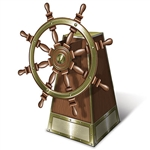 The 3-D Jointed Ship's Helm looks just like a wooden helm on an old ship! Made of printed cardstock material this helm stands 18 inches tall and looks great on table tops at both pirate and nautical parties. The card stock wheel even spins!