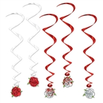 Nothing says romance like a rose! Turn any room into a garden with our red and white hanging Rose Whirls.  The lush color and contrasting red and white will set the perfect mood for an anniversary or garden party. Comes five per package.