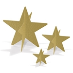 3-D Foil Star Centerpieces will give your tables a dazzling glamorous look. Metallic Gold card stock stars measure three inches, five and a half inches, and eight inches. You'll get one centerpiece of each size in your package! Simple assembly required.
