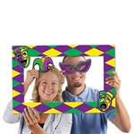 Spice up your Mardi Gras party by placing this Mardi Gras Photo Fun Frame where people can get their photo taken with it! The frame has a green, yellow and purple design on it, as well harlequins in two of the corners. Also has 2 handheld props included.