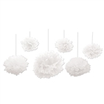 These White Tissue Fluff Balls make a lovely accent to your wedding or anniversary decorations. Each package contains six fluff balls in varying sizes, along with white satin ribbon for hanging. Simple assembly required.