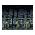 Use the Victorian Townscape Backdrop to re-create an 1800's nighttime city street scene. Street lamps cast shadows upon a row of tall city homes. Measuring 4 feet high and 30 feet long, this flexible plastic backdrop can be easily cut to the needed size.