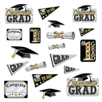 Decorate the graduation party with our fun and colorful Graduation Cutouts. This package of 20 cutouts feature a color scheme of black, gold and silver, and range in measurement from six to 13 inches. Each card stock cut out is printed on both sides.
