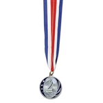 The 2nd Place Medal w/Ribbon is your standard award ribbon and medal. Each 2 inch replica silver medal is engraved with 2nd and is attached to a 32 inch red, white, and blue neck ribbon. Ribbon forms a 16 inch loop for placing around a neck.