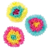 Create a vibrant display with the Assorted Bright Pink Tissue Flowers. Each flower has yellow, turquoise and cerise pink, with each flower having a different arrangement of colors. Each tissue flower measures 10 inches and contains 3 per package.