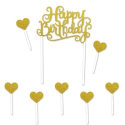 The Glittered Happy Birthday Cake Topper is a perfect substitution in place of candles on your birthday cake. Happy Birthday is spelled out in gold glittered letters between two 6-inch long picks. Includes 6 gold glittered heart picks as well.
