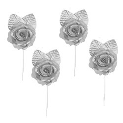 Elite Collection Silver Rose Tie-Backs (4/pkg)