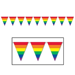 Colorful rainbow pennants line the 30-foot long Rainbow Pennant Banner, yes, 30 feet long! It's made of an all-weather material, so rain or shine this banner will be more than fine! Comes one banner per package.