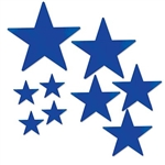 The Blue Pkgd Foil Star Cutouts are made of foil coated cardstock. Sizes range in measurement from 5 to 15 inches. Contains 9 stars per package.