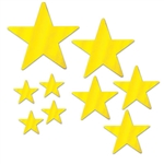 There's no better way to decorate for an awards night or Hollywood theme party than with our Foil Star Cutouts.  This package includes nine card stock gold foil stars ranging in size from 5 inches to 15 inches.