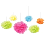 These beautifully designed tissue fluff balls are a lovely accent to your luau, spring, or summer decorations. Assorted colors of orange, blue, yellow, lime green and cerise. Six fluff balls per package. Simple assembly required.