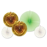These Assorted Decorative Fans are for you! There are five pieces in this package, including two white fans with gold foil triangles, two gold foil fans and one mint green fan. The sizes of the fans vary from nine inches to 16 inches.