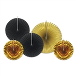 Shiny gold and black foil and paper decorative fans, ideal for adding a burst of color to a New Year's Eve party. Package comes with two gold fans measuring 9 inches, two black fans measuring 12 inches, and 1 large gold fan measuring 16 inches.