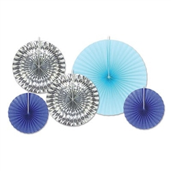 Create a wonderful ceiling display with the beautiful colors of glittered dark blue, silver, and light blue to enhance your party. These Blue and Silver Assorted Paper & Foil Decorative Fans will be a hit at your event. Contains five fans per package.
