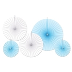 Made from paper material, these light blue and white fans make a beautiful display accent to any party. One large light blue fan measures 16 inches, two white fans measure 12 inches, and two light blue fans measure 8 inches. Contains five fans per package