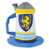 Wear this Felt Beer Stein Hat during your next Oktoberfest event. Made completely of felt, shaped like an actual beer stein, and printed in a Bavarian color scheme of blue, white, and yellow. Fits most adult heads. Not eligible for return.